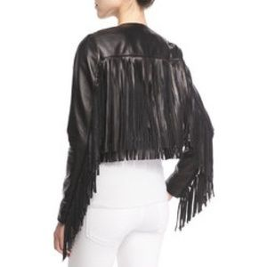 CUSP by Neiman Marcus Jackets & Coats - CUSP NWT Black Leather Fringe Jacket XS